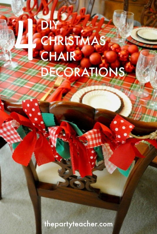 4 DIY Christmas Chair Decorations - Bunting - The Party Teacher