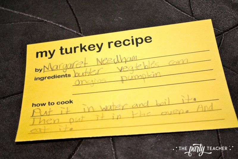 Children's turkey recipe card - The Party Teacher