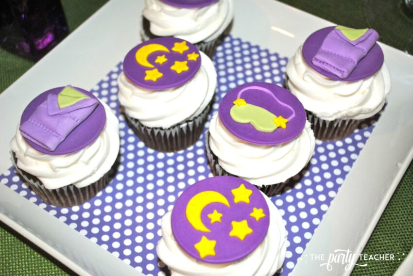 Girls Rule Slumber Party - cupcakes fondant toppers - The Party Teacher
