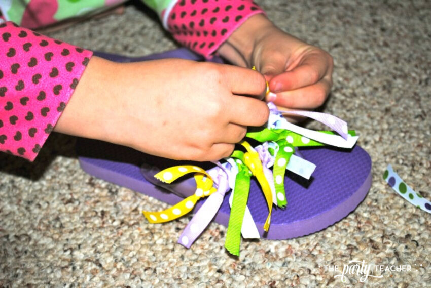 Girls Rule Slumber Party - decorating flip flops - The Party Teacher