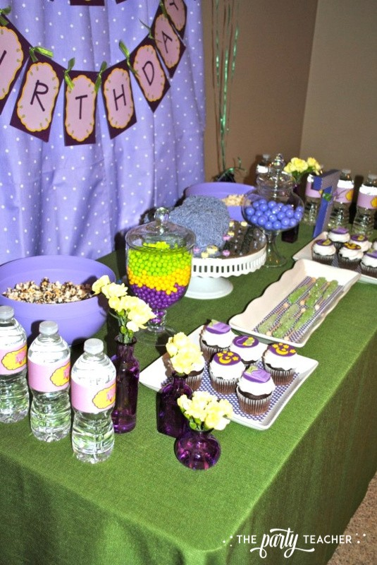 Girls Rule Slumber Party - dessert table overhead - The Party Teacher
