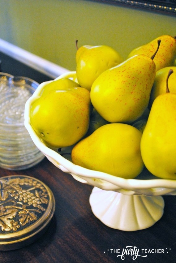 Dining room sideboard pears - The Party Teacher