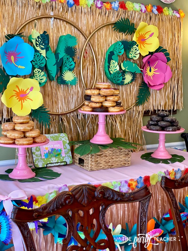Donut Hut birthday party by The Party Teacher - dessert table