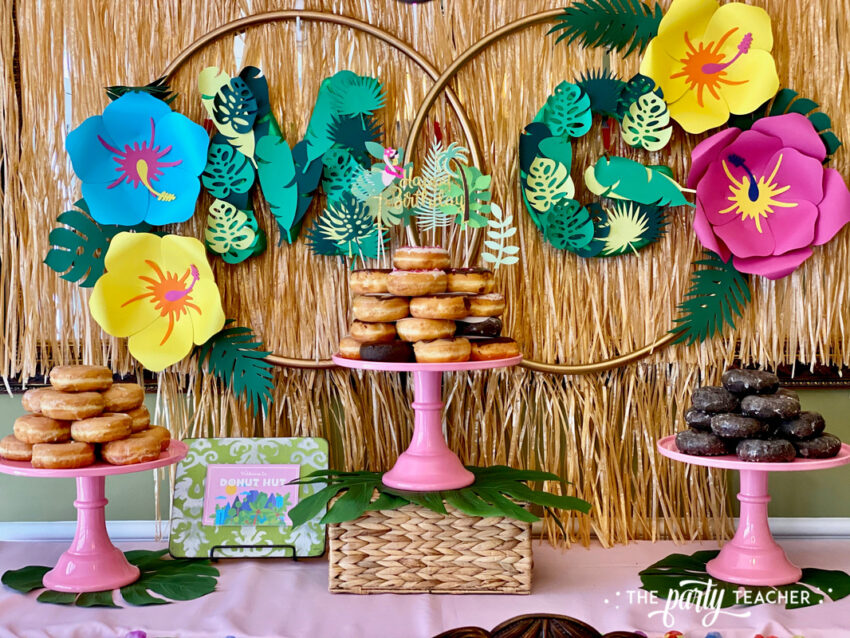 Donut Hut birthday party by The Party Teacher - dessert table backdrop