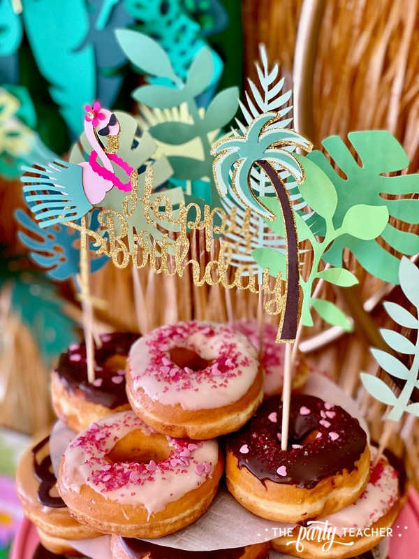 Donut Hut birthday party by The Party Teacher - cake topper