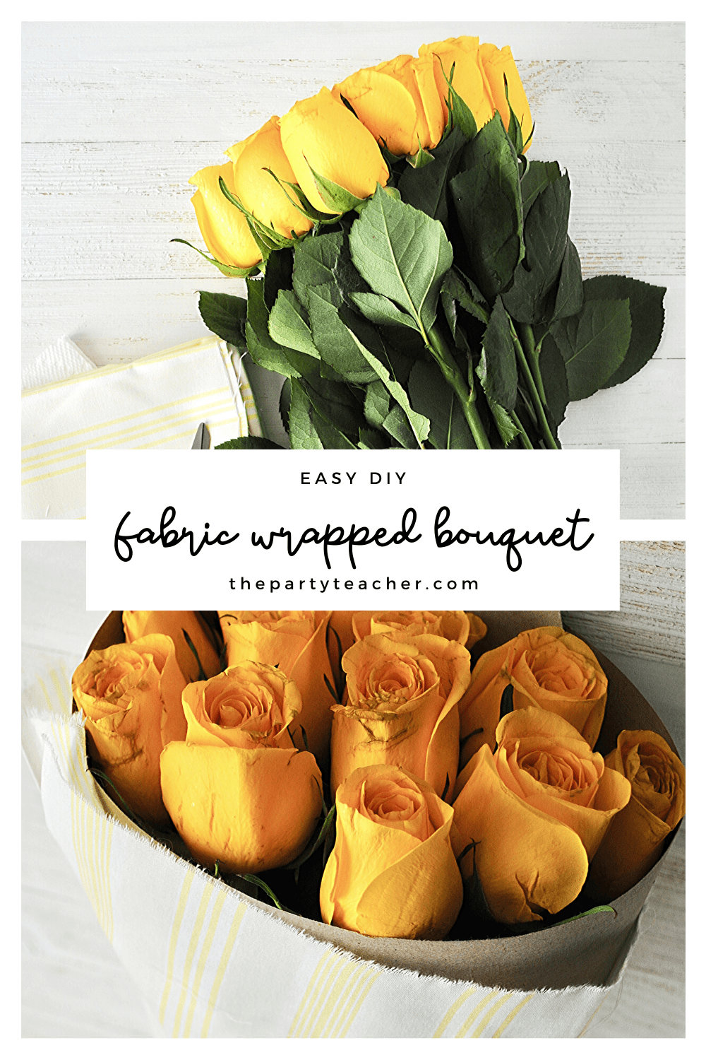 Easy DIY - how to wrap bouquet in fabric - The Party Teacher