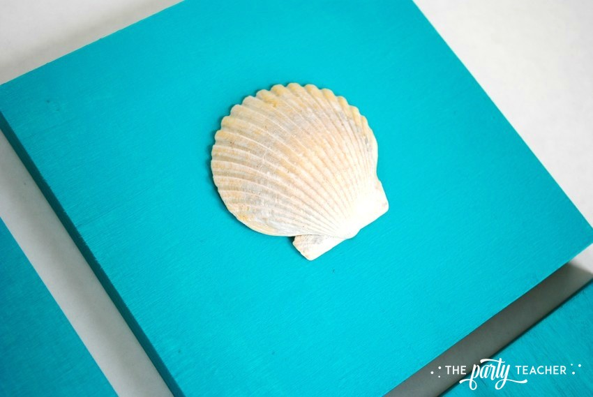 Easy shell art tutorial - glue shell 6 - The Party Teacher