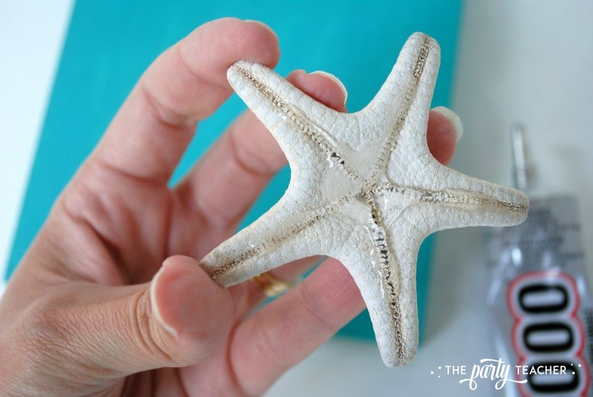 Easy shell art tutorial - glue starfish - The Party Teacher