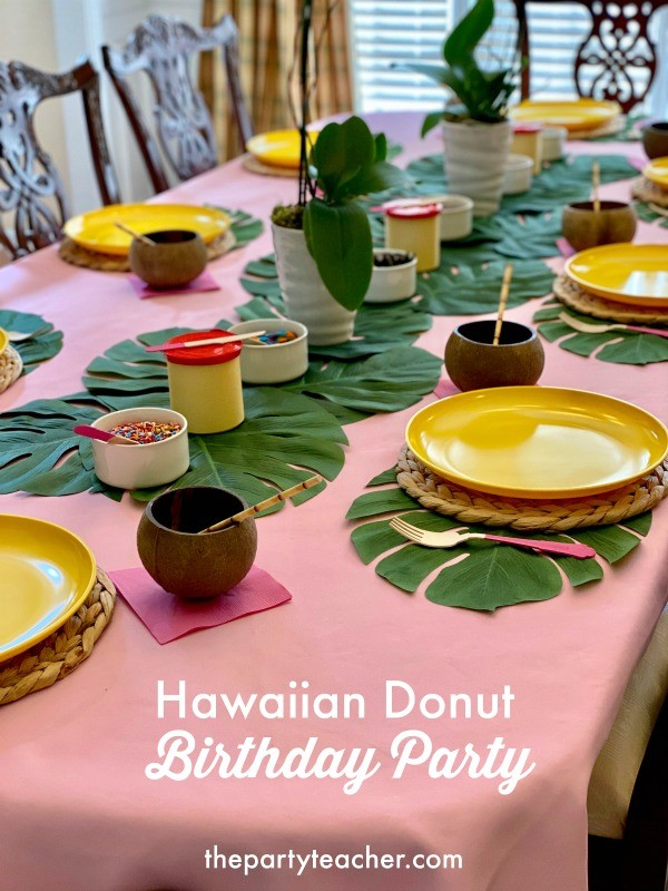 Hawaiian donut birthday party by The Party Teacher