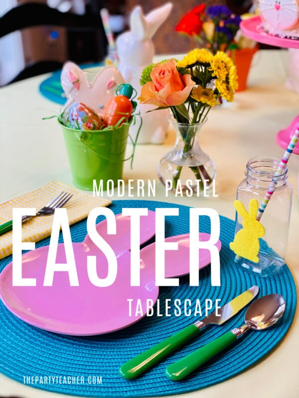 Modern Pastel Easter Children's Tablescape by The Party Teacher