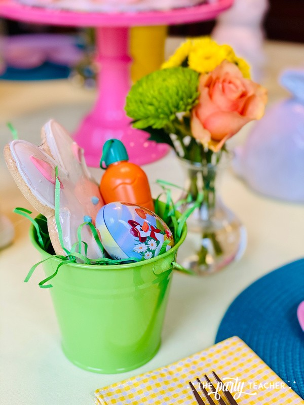 Pastel Easter Children's Table by The Party Teacher - green mini basket