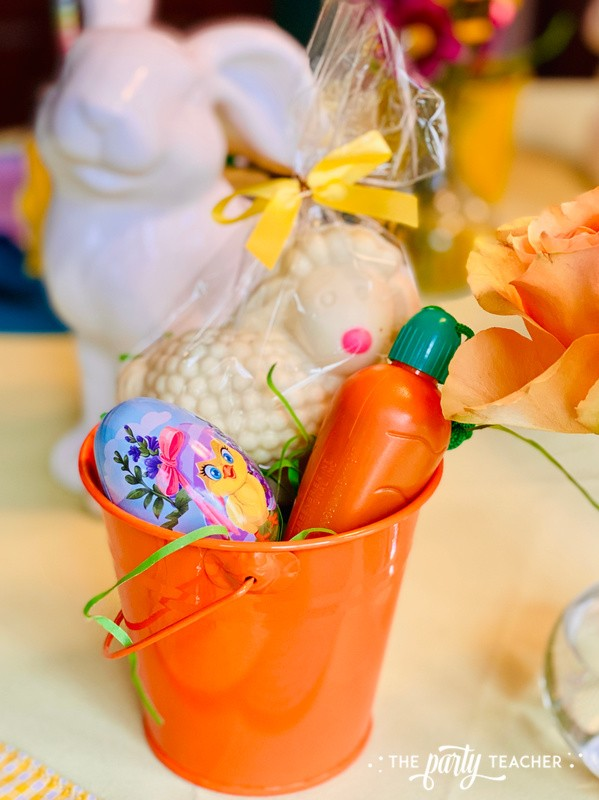 Pastel Easter Children's Table by The Party Teacher - mini easter basket