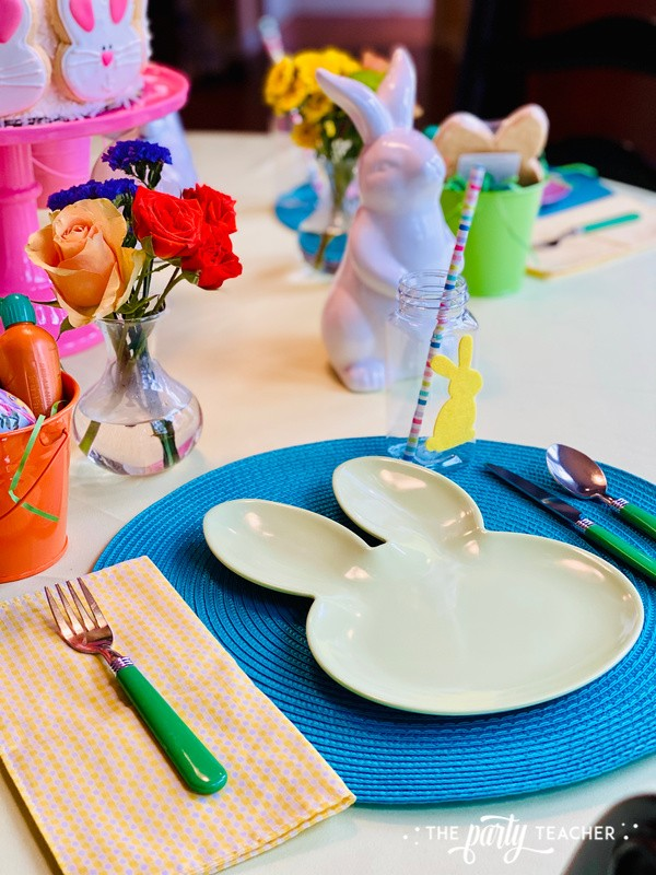 Pastel Easter Children's Table by The Party Teacher - mint place setting