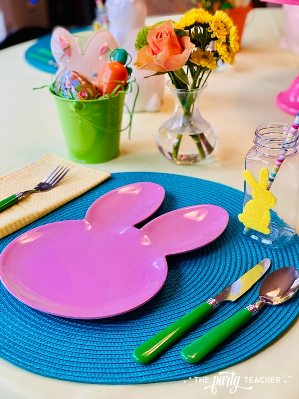 Pastel Easter Children's Table by The Party Teacher - pink place setting