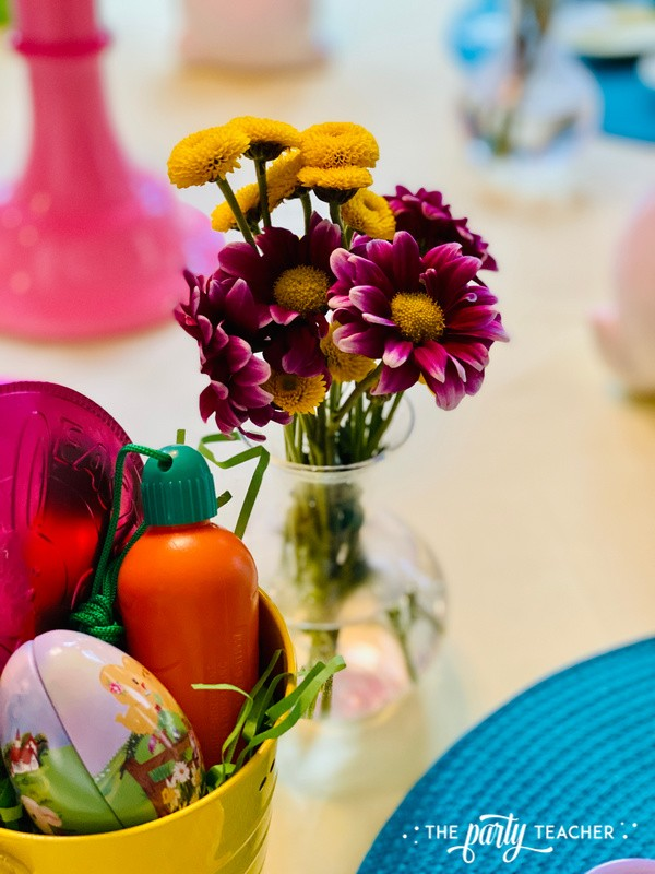 Pastel Easter Children's Table by The Party Teacher - purple yellow flowers 2