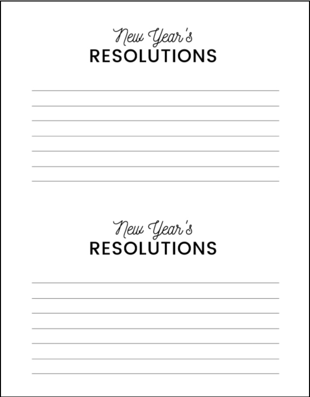 new year's eve resolutions free printable by the party teacher
