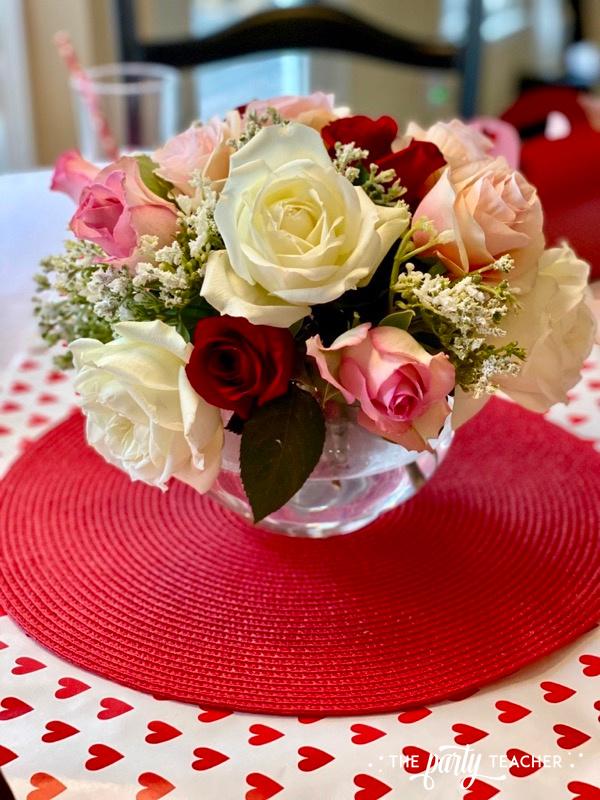 Valentine's rose centerpiece - The Party Teacher - 4