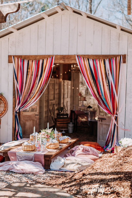 Boho Picnic Sweet 16 by The Party Teacher - 182 - ribbon curtains