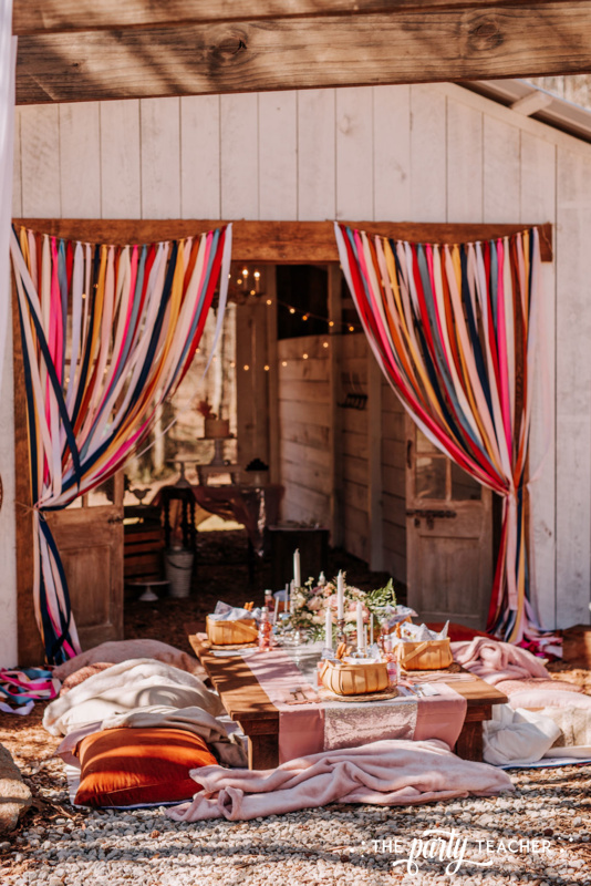 Boho Picnic Sweet 16 by The Party Teacher - 33 table ribbon curtain